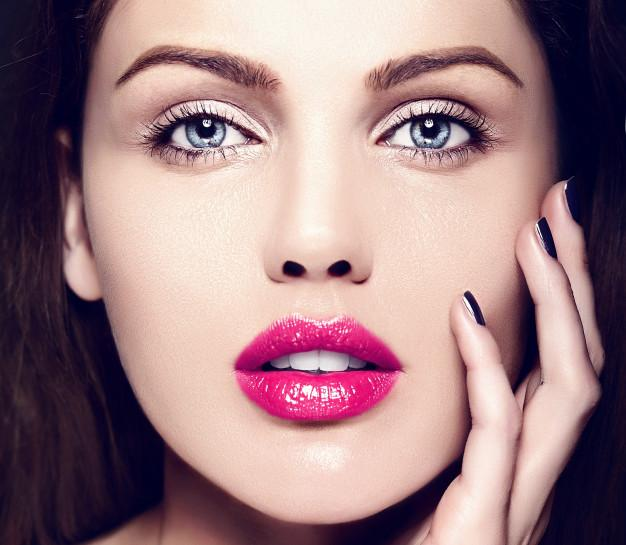 high fashion look glamor closeup beauty portrait beautiful caucasian young woman model with nude makeup with perfect clean skin with colorful pink lips 158538 12775